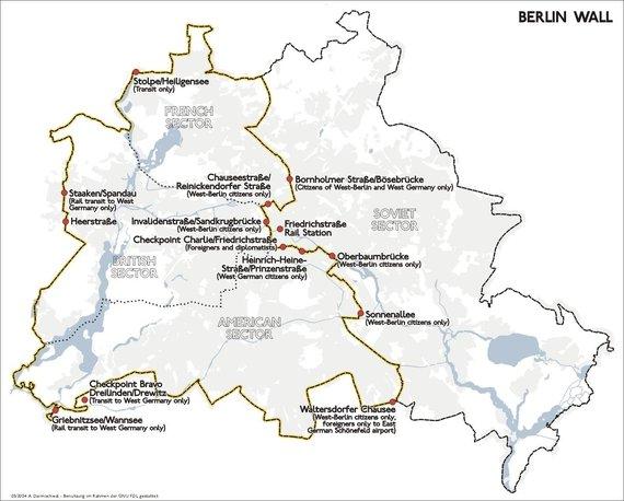 Wikimedia Commons nuotr. / CC BY-SA 3.0/Berlyno siena ir jos kirtimo taškai 1989 m.
