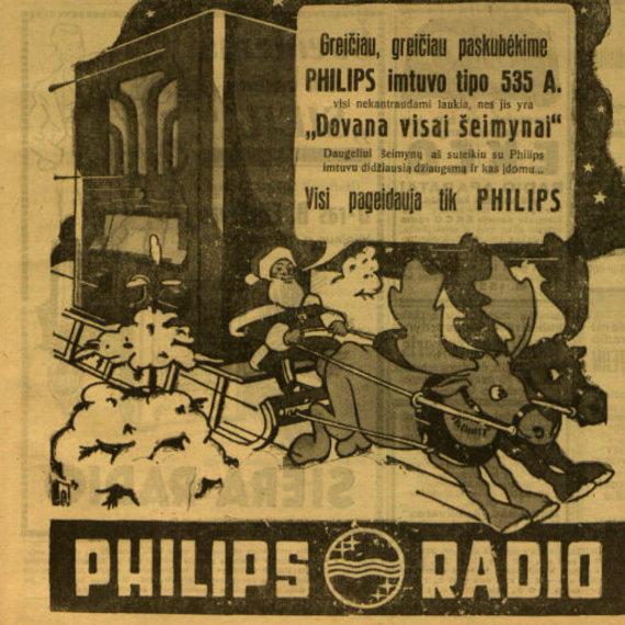 """epaveldas.lt nuotr. /""""Phillips"""" radijo imtuvo reklama 1935 m. """"Lietuvos žiniose"""""""