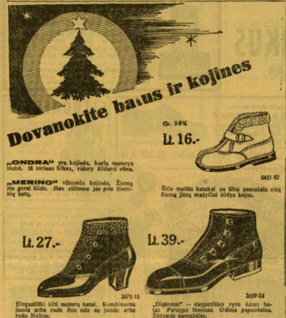 """epaveldas.lt nuotr. /Raginimas dovanoti batus ir kojines """"Lietuvos žiniose"""""""