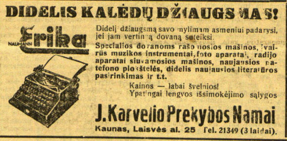 """epaveldas.lt nuotr. /Rašomosios mašinėlės reklama """"Lietuvos žiniose"""""""