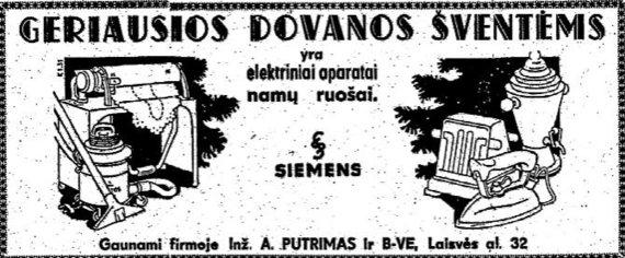 """epaveldas.lt nuotr. /Elektrinių aparatų namų ruošai reklama """"Lietuvos aide"""""""