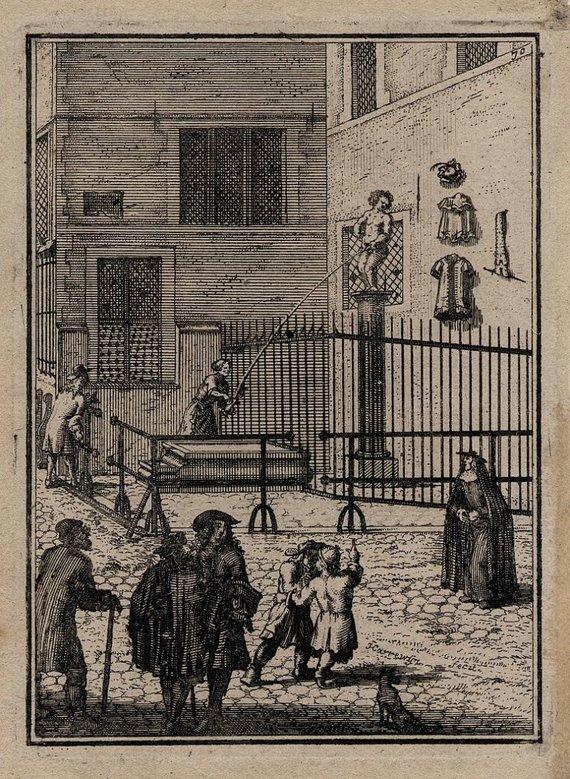 Wikipedia Commons nuotr. // CC BY-SA 4.0/Besišlapinantis berniukas 1697 m., J.Harrewijno graviūra