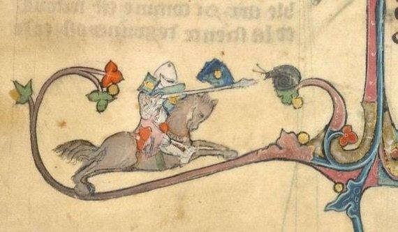 Britų bibliotekos pav./Riterio, kovojančio su sraige, piešinys iš 1315-1325 m knygos