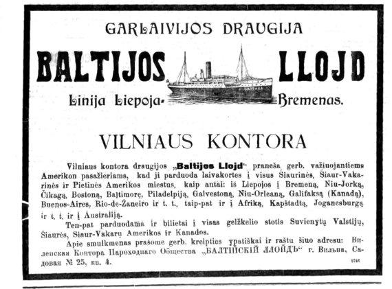 archivesofculture.com nuotr./Kelionės į Ameriką reklama. 1914 m.
