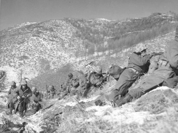 Wikimedia Commons / Public Domain nuotr./Amerikiečių kariai Šiaurės Korėjoje 1950 m.