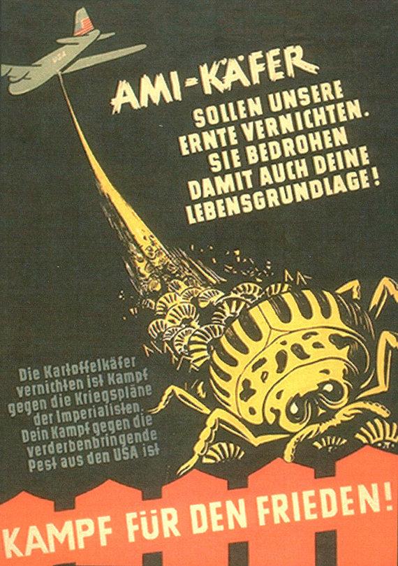 potatobeetle.com nuotr./Propagandinis plakatas, dėl Kolorado vabalų Vokietijoje kaltinantis amerikiečius