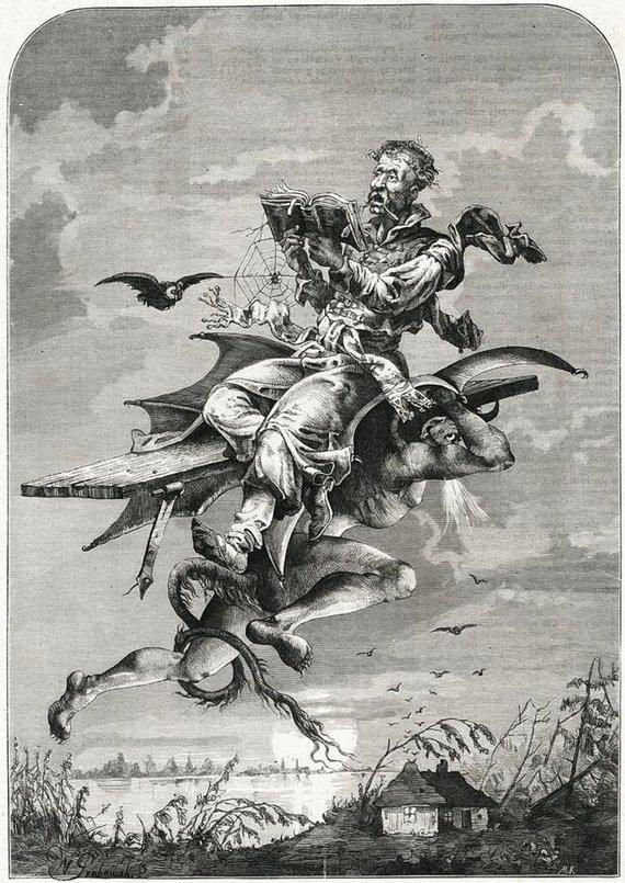 LDKistorija.lt pav./Šėtono nešamas Tvardovskis gieda bažnytines giesmes. Iš Michał Kluczewski, Twardowski śpiewający Godzinki, 1876.