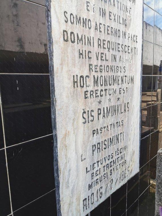 Augustino Žemaičio asmeninio archyvo nuotr. /Tekstas lietuvių ir portugalų kalbomis ant paminklo