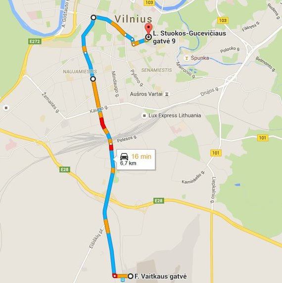 Maršrutas, kuriuo mane vežė Viačeslavas.