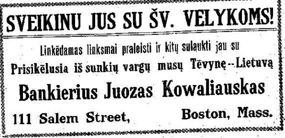 """epaveldas.lt nuotr./Bankininko sveikinimas 1918 m. kovo 30 d. """"Darbininke"""""""