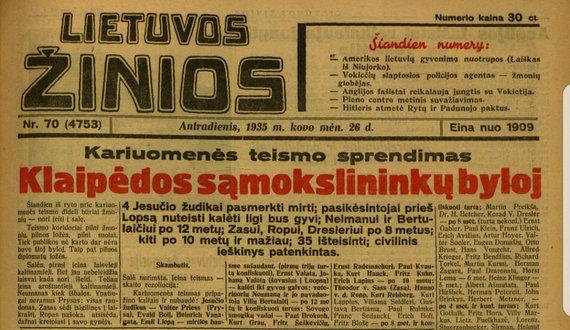 epaveldas.lt nuotr./Lietuvos žinių 1935 m. kovo antraštinis puslapis