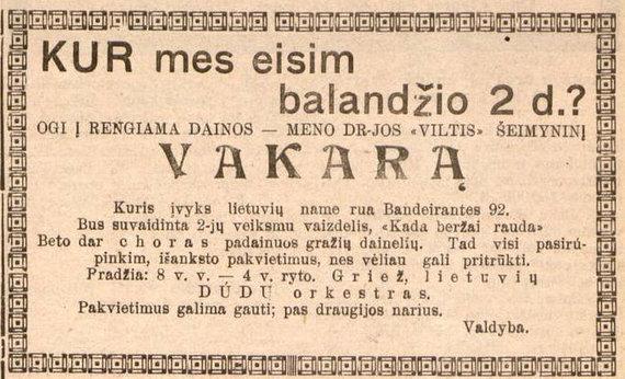epaveldas.lt nuotr./Kvietimas į lietuvių renginį Pietų Amerikoje
