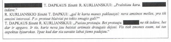 Ištrauka iš VSD rašto/T.Dapkaus ir R.Kurlianskio pokalbis