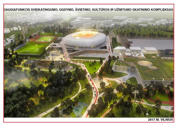 Bendrovės Vilniaus nacionalinis stadionas projekto vizualizacija
