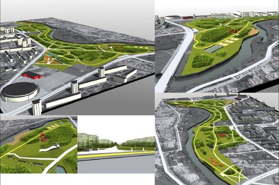 Kultūros ir poilsio parko modernizavimo vizualizacija