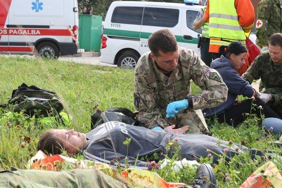 Alvydo Januševičiaus nuotr./Sraigtasparnio avarijos pratybos