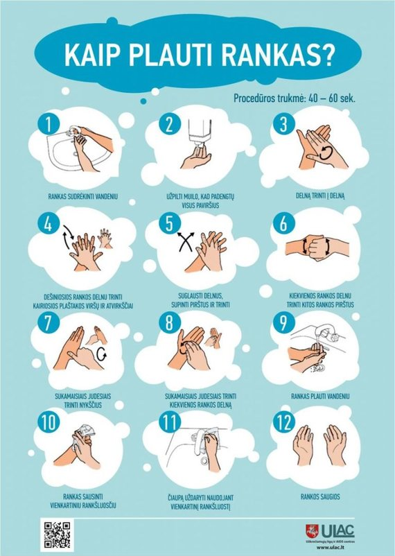 ULAC iliustracija/Instrukcija, kaip tinkamai plauti rankas