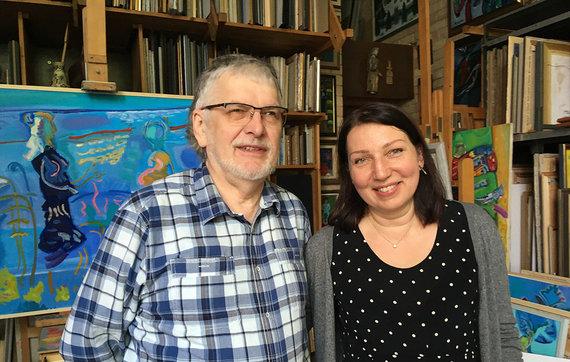 Inga Dambrauskienė su pirmuoju savo dailės mokytoju Rimu Zigmu Bičiūnu