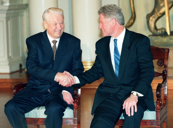 """""""Scanpix""""/AP nuotr./Billas Clintonas ir Borisas Jelcinas"""