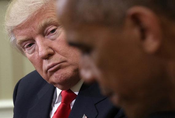 """AFP/""""Scanpix"""" nuotr./Donaldas Trumpas ir Barackas Obama"""