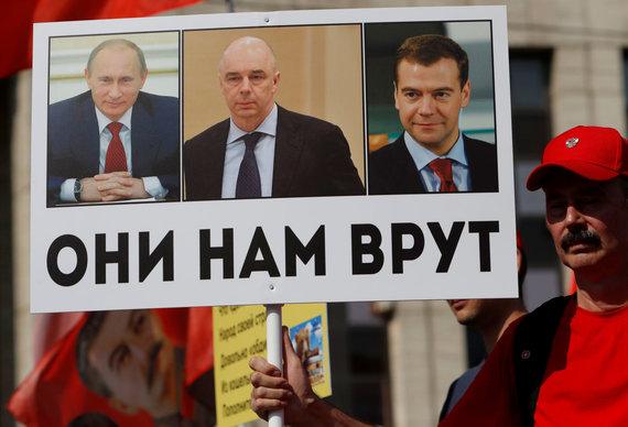 """""""Reuters""""/""""Scanpix"""" nuotr./Protestas prieš pensijų reformą Maskvoje"""