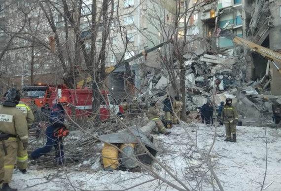 """Reuters""/""Scanpix"" nuotr./Magnitogorske sugriuvo dalis daugiabučio"