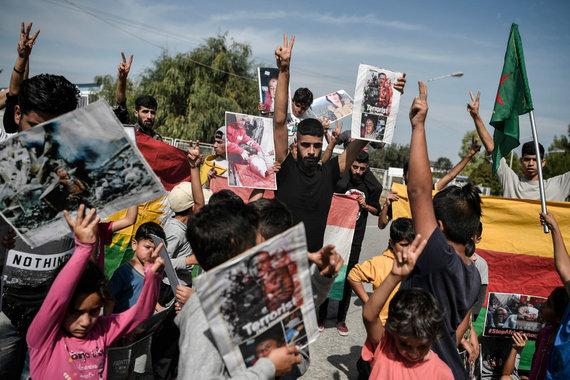 """AFP/""""Scanpix"""" nuotr./Sirijos kurdų protestas"""