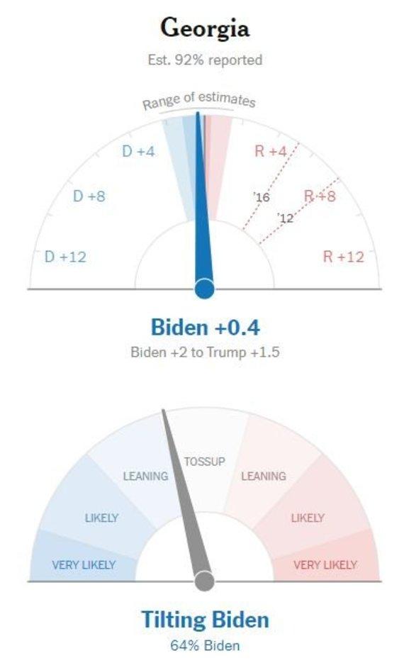 """""""The New York Times"""" nuotr./""""The New York Times"""" mano, kad J.Bidenas turi galimybių laimėti Džordžijoje"""