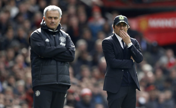 """""""Reuters""""/""""Scanpix"""" nuotr./Jose Mourinho ir Antonio Conte"""