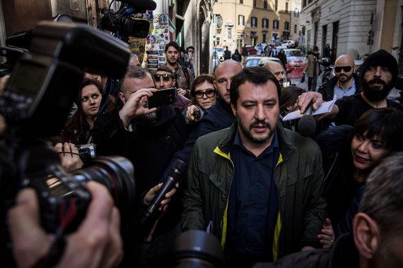 """Scanpix""/AP nuotr./Matteo Salvini prie ""Foreign Press"" būstinės"