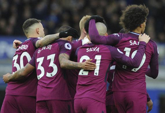 """Scanpix""/AP nuotr./""Manchester CIty"" futbolininkai sunkiai sustabdomi"