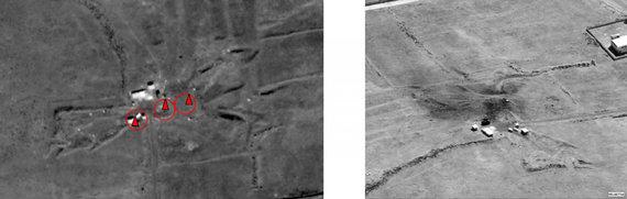 """AFP/""""Scanpix"""" nuotr./Him Šinšaro cheminių ginklų bunkeris prieš raketų smūgius ir po jų"""