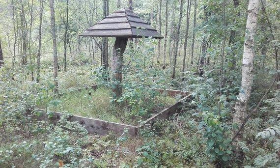 Apleista pavėsinė miško parke Trakų rajone