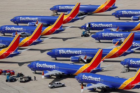 """""""Reuters""""/""""Scanpix"""" nuotr./""""Boeing 737 MAX"""" lėktuvai ant žemės"""