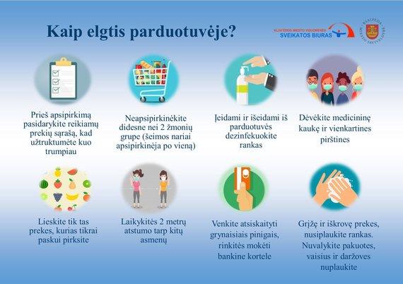 Klaipėdos visuomenės sveikatos biuro nuotr./Kaip elgtis parduotuveje