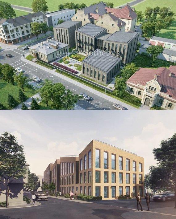 """Viršuje – A.Ambraso studijos projektuoti namai Vytauto gatvėje, apačioje – """"Cloud architektų"""" projektuoti namai Vytauto gatvėje"""