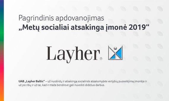 """""""Metų socialiai atsakinga įmonė 2019"""""""