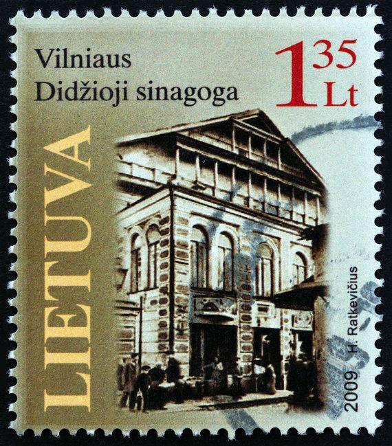 123rf.com/2009 metais išleistas pašto ženklas, kuriame vaizduojama Vilniaus Didžioji sinagoga