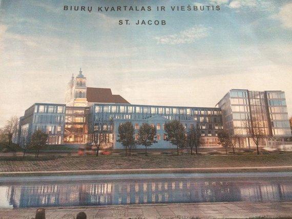 Greta Šv.Jokūbo bažnyčios planuojamas viešbutis ir biurų pastatas. Pirminė vizualizacija