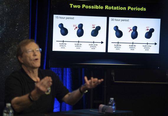 """""""Scanpix""""/AP nuotr./Halas Weaveris pasakoja apie NASA pasiekimą – iš arti nufotografuotą Ultima Thule kosminį kūną"""