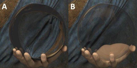 Kalifornijos universiteto iliustr./Kompiuteirnio modeliavimo rezultatai: kairėje – pilnaviduris rutulys, dešinėje – tuščiaviduris