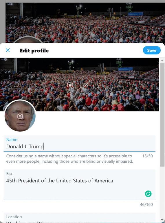 V.Geverso užfiksuotas ekrano vaizdas patekus į D.Trumpo paskyrą
