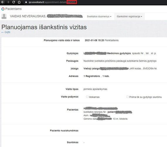 """""""e-Sveikatos"""" sistemoje atskleidžiami asmens duomenys"""