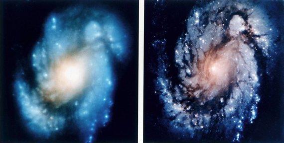 NASA nuotr./Hubble kosminio teleskopo vaizdai su sferine aberacija ir po korekcijos