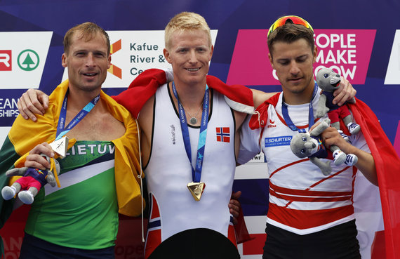 """""""Scanpix""""/AP nuotr./Mindaugas Griškonis (kairėje) iškovojo sidabrą Europos čempionate Škotijoje."""