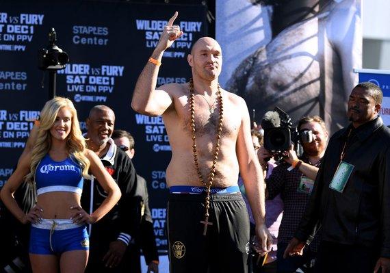 """""""Scanpix"""" nuotr./Tysonas Fury Los Andžele prieš bokso dvikovą."""