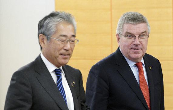 """""""Scanpix""""/AP nuotr./Tsunekazu Takeda ir IOC prezidentas Thomas Bachas."""
