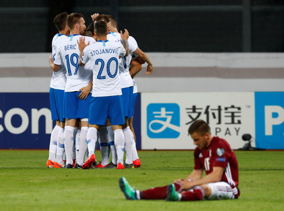 """""""Scanpix"""" nuotr./Latvijos futbolo rinktinė namie pralaimėjo Slovėnijai 0:5."""