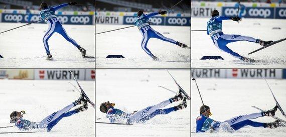 """""""Scanpix"""" nuotr./Vokietijos Alpių miestelyje Oberstdorfe prasidėjo pasaulio slidinėjimo čempionatas. Slidininkas iš Libano griuvo varžybose trečiadienį."""
