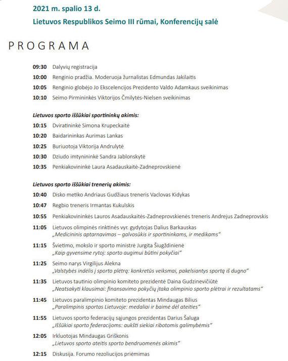 Lietuvos sporto ateities forumo Seime programa